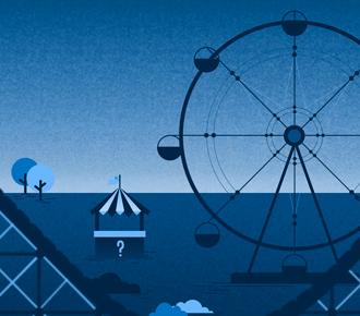 Ilustração de um parque de diversão - alusão ao parque de impressão.