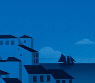 Ilustração de uma paisagem portuguesa, para representar o Web Summit que acontece em Lisboa - Portugal