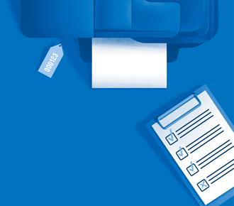 Ilustração de impressora com tag de número de patrimônio e uma prancheta com um check list.