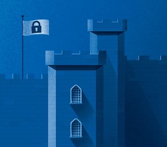Ilustração de um forte/castelo medieval simbolizando a segurança digital.