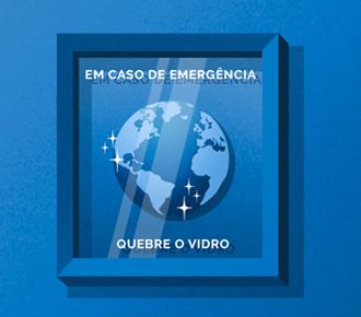 Imagem de um quadro de emergência, dentro dele o globo terrestre. Simboliza a sustentabilidade disruptiva.