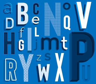 Letras do alfabeto simbolizando o glossário do outsourcing de impressão.