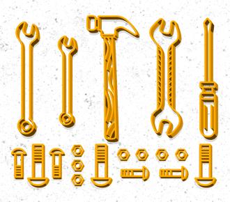 Desenho de ferramentas que simbolizam o trabalho de manutenção preventiva em impressoras.