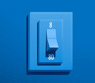 Imagem de um interruptor de luz com a sinalização de 8 para cima e 80 para baixo..
