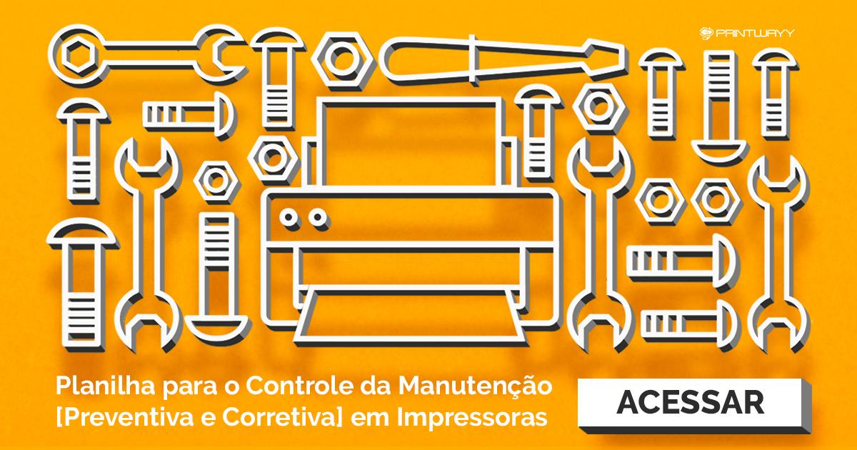 Banner convite para acessar a planilha de controle da manutenção de impressoras.