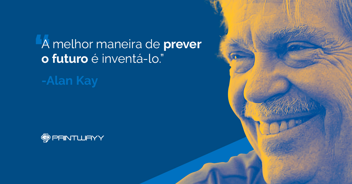Frase e foto de Alan Kay.