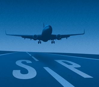 Ilustração de avião em uma pista de decolagem.