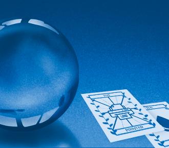 Imagem que retrata o futuro da impressão com uma bola de cristal e cartas do tarô.