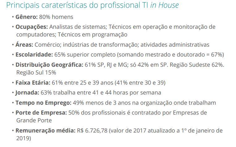 Resumo características do profissional de TI (in house TI).