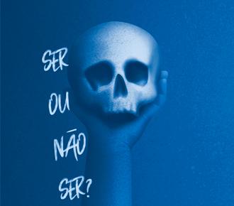 """Imagem de uma caveira sendo segurada por uma mão com a frase """"ser ou não ser""""."""