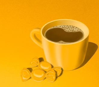 Imagem de uma xícara de café com algumas balas, representado os pequenos custos do dia a dia em alusão ao custo da impressão.