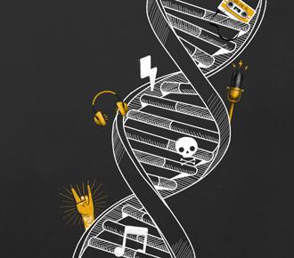 Imagem símbolo do DNA com ícones do manifesto de cultura da PrintWayy.