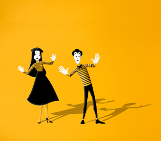 Dois mímicos representam o rapport e o contágio emocional.
