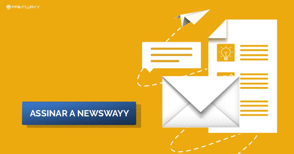 Folha de papel, um envelope e um aviãozinho de papel. Convite para assinar a NewsWayy.