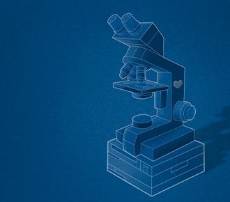 Uma impressora com um microscópio em cima. Lembrando o outsourcing de impressão e o vírus do COVID-19.