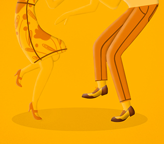 Representando a oportunidade de mercado ilustra-se duas pessoas dançando, uma dando um passo para trás e outra para frente.