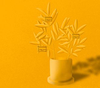 Desenho de uma plantinha com impressoras sendo seus frutos.