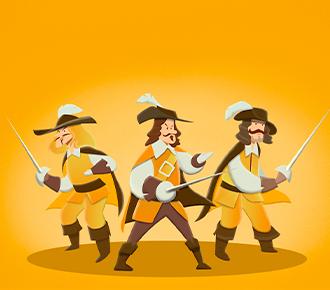 Três mosqueteiros ao centro com espadas nas mãos. Simbolizam a resiliência, a antifragilidade e, a empatia.