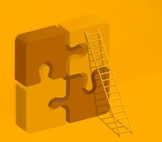 Quadro peças de um quebra-cabeça, de pé, 2D, com uma escada escorada em um deles.