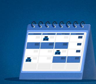 Um calendário de mesa, em algumas datas tem um ícone de pote de tinta - mostrando os dias de fazer a reposição de suprimentos.