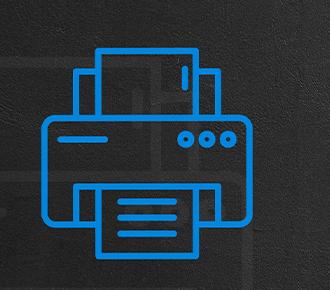 Desenho de uma impressora em tom de azul com texto do título da publicação.