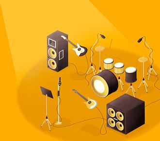 Instrumentos musicais, postos para uma banda tocar, representam o treino - treinamento corporativo.