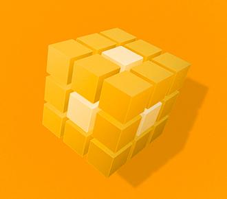 Um cubo mágico em amarelo com a peça do meio em branco. Simboliza o core business da empresa.