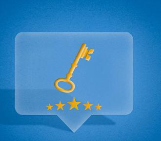 Um balão de pensamento branco com uma chave e abaixo dela cinco estrelas simbolizando a economia da reputação.