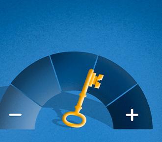 Velocímetro com positivo a direita e negativo a esquerda, uma chave é o ponteiro, ela está pendente ao positivo.