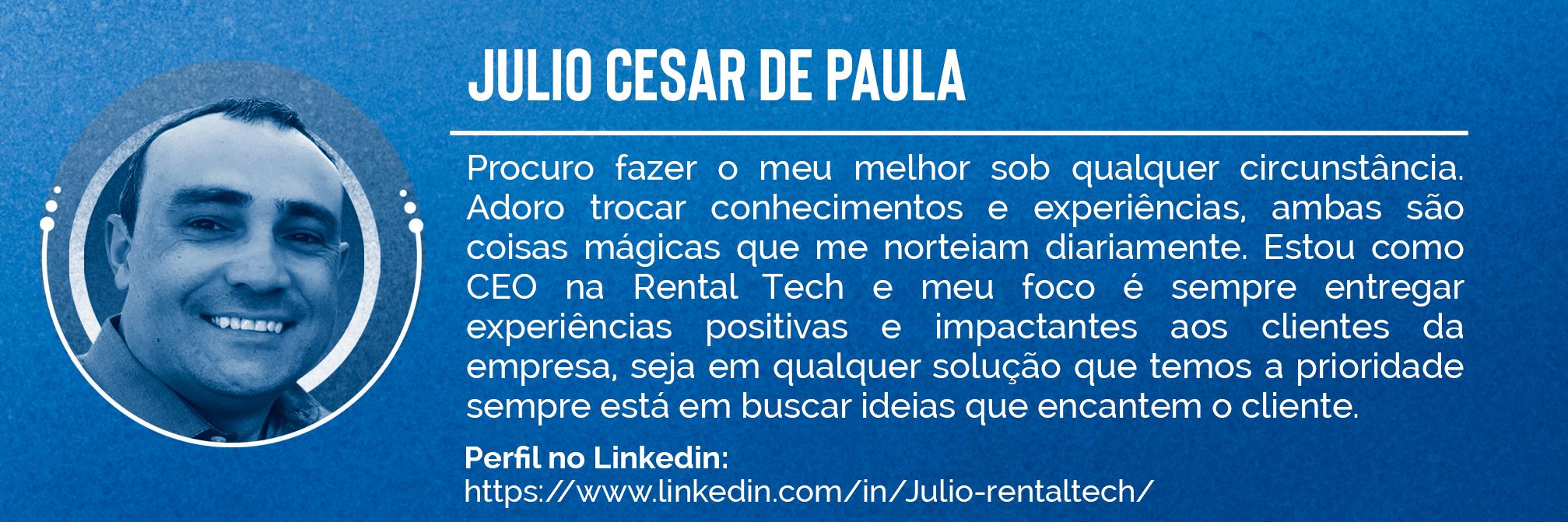 Imagem de mini currículo de Julio Cesar de Paula, especialista em outsourcing de impressão.