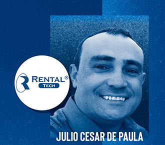 Fotografia de Julio Cesar de Paula e logotipo da empresa Rental Tech. A imagem ilustra a conversa com especialista em outsourcing de impressão.