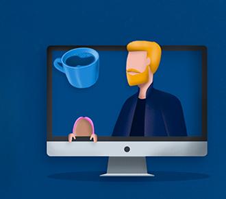 Ilustração de pessoas durante reuniões online em home office. Tem notebook, tela de computador, controle de videogame, xícara de café, balão de pensamento, uma nota musical e, uma lâmpada/ideia.