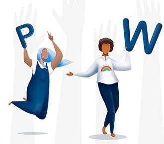 Ilustração de pessoas, uma com a letra P na mão, outra com a letra W e, uma menina com um coração.
