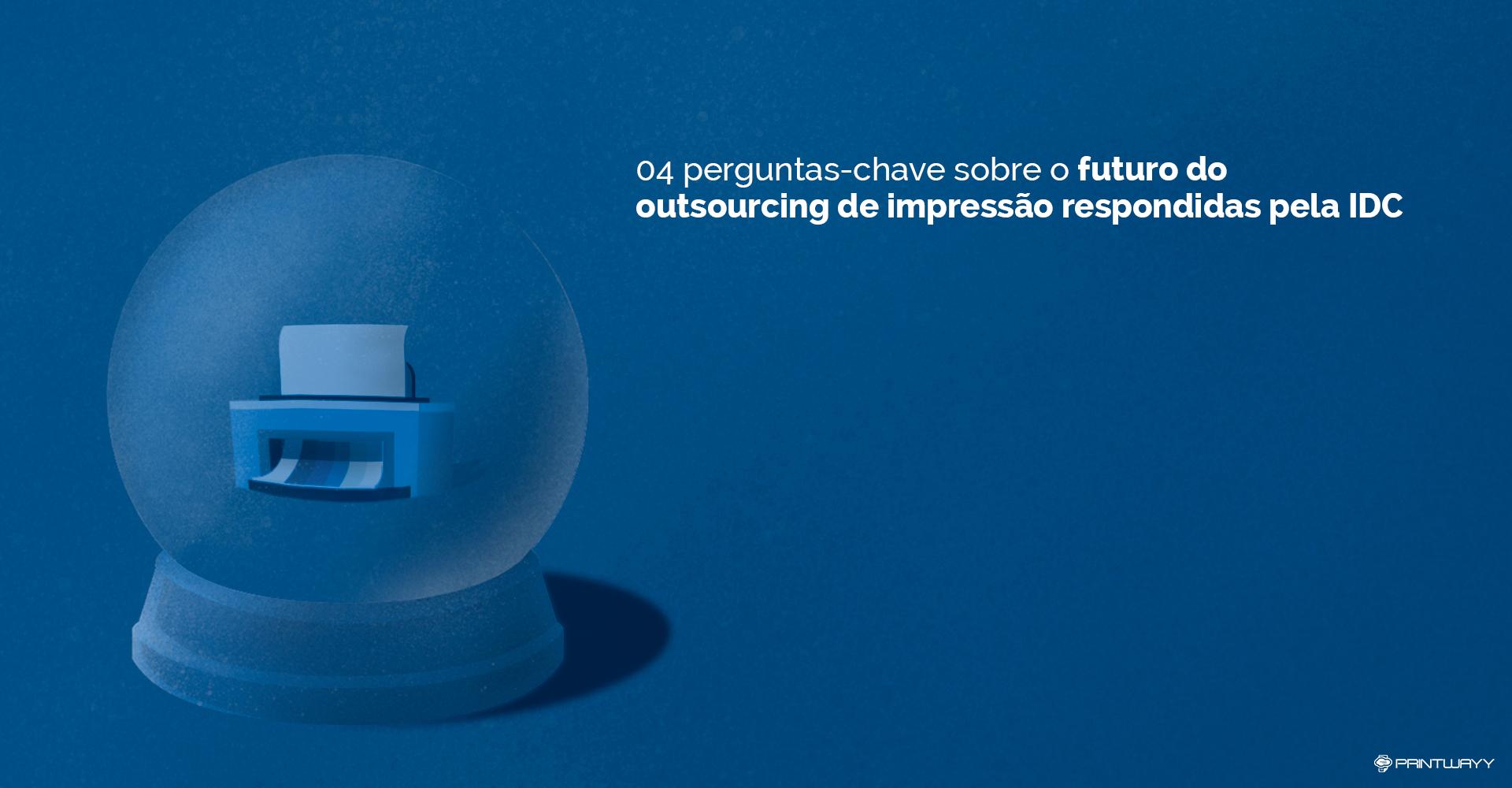 Uma bola de cristal mostra uma impressora, referenciando ao futuro do outsourcing de impressão.