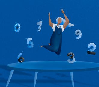 A imagem ilustra uma menina, pulando em uma cama elástica, cercada por números.