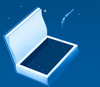 Ilustração de uma pessoa mergulhando em um livro, que simboliza uma piscina.