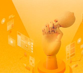 A imagem ilustra uma mão de madeira, segurando uma lâmpada, cercada por imagens de programas, planilhas e documentos de computador.