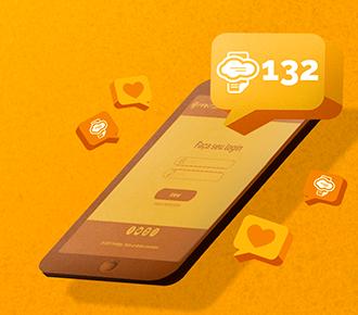 A imagem ilustra um smartphone acessado o site do PrintWayy, e, acima dele, há um balão contendo o número 132, simbolizando todas as atualizações do sistema em 2020.