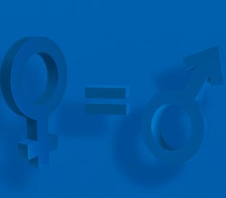 A imagem traz três símbolos, o do gênero feminino, o de igualdade e, o do gênero masculino. Representando, assim, o papel da masculinidade saudável na busca por equidade.