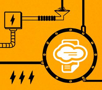 Um circuito de tubose engrenagens que se ligam.