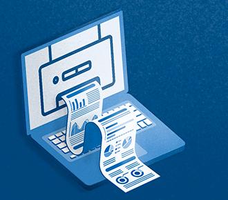 A imagem demonstra um notebook, com uma impressora em sua tela e um relatório sendo impresso por ela.