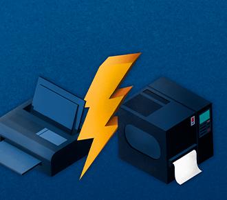 Ilustração de suas impressoras diferentes, separadas por um raio. Demonstrando a distinção entre o leasing e o outsourcing.