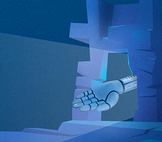 A imagem ilustra a mão de um robô, o qual simboliza o aprendizagem da máquina (machine learning), atravessando um portal.