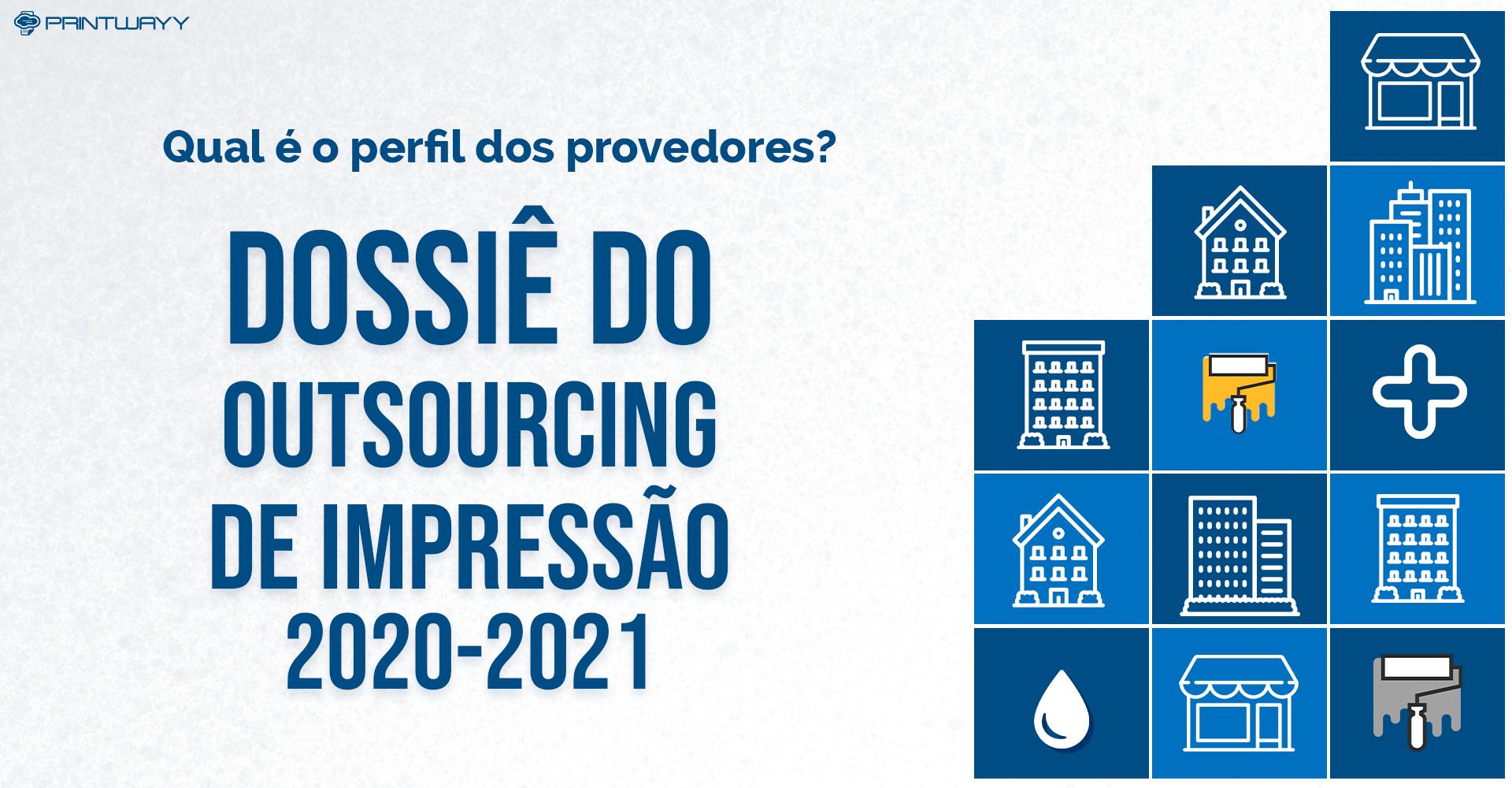 Ilustração das legendas do Dossiê do Outsourcing de Impressão 2020-2021, sendo um sinal de adição, uma gota, tinta e diferentes tipos de prédios. O perfil dos provedores foi realizado com base no Dossiê.