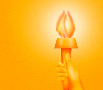 A imagem ilustra uma mão erguendo uma tocha com a chama acesa.