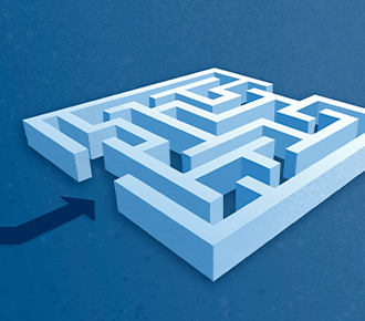 Um labirinto com uma flecha indicando a entrada.