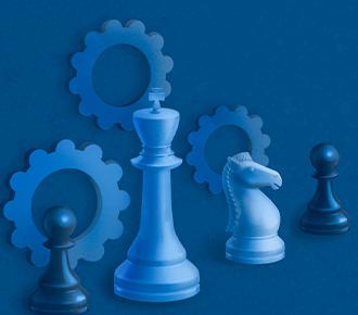 Ilustração de quatro peças de xadrez e engrenagens, simbolizando os aspectos das vendas de serviços presentes na publicação.