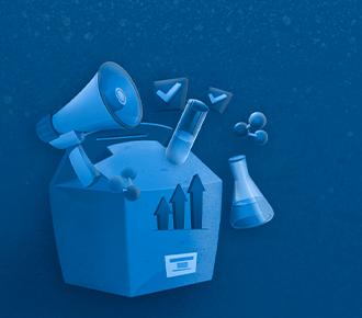 A imagem ilustra uma embalagem, simbolizando as dicas takeaway sobre comunicação e marketing contidas na publicação. Além de um gráfico com flechas e sinais de visto, há outros elementos que remetem à comunicação (um megafone) e à ciência (moléculas e um frasco de Erlenmeyer).