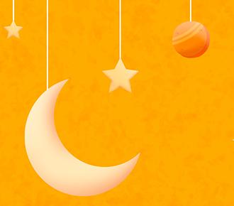 A imagem ilustra planetas, a lua e estrelas suspensos.