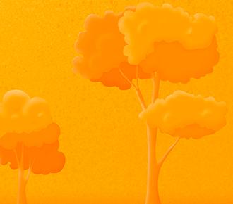 Ilustração de duas árvores, uma pequena, em crescimento, e outra já grande e formada. Elas dão alusão à evolução que o growth hacking traz aos negócios.